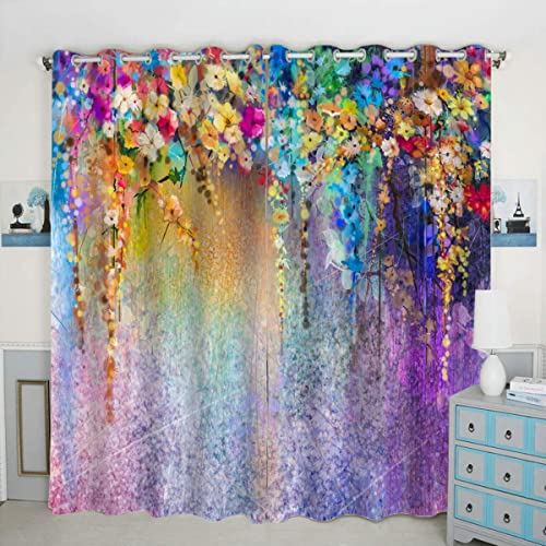QH Purple Flower Window Curtain Panels Blackout Curtain Panels Thermal Insulated Light Blocking 42W x 84L inch Set of 2 Panels