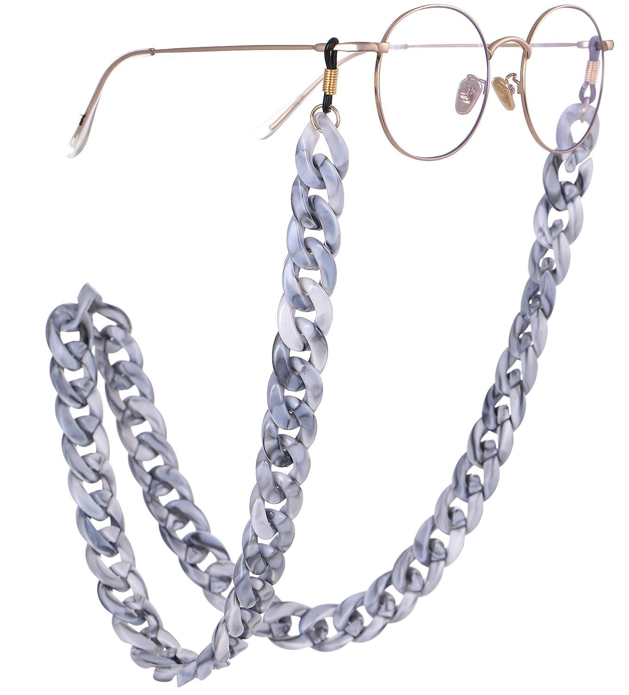 Cadena de eslabones de Plata para Gafas Cadena Larga para Mujeres y ni/ñas VASSAGO Cord/ón de acr/ílico para Cuello de pesta/ñas Soporte de Correa para Gafas de Sol