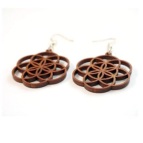 laser cut earrings wood and brass earrings circle earrings Geometric dangle earrings