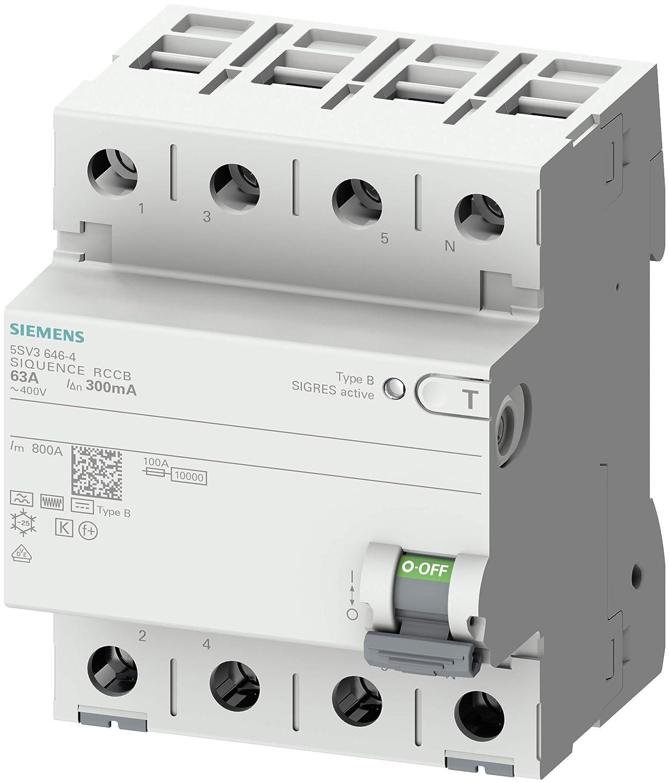 63 A 30 mA Un AC SIEMENS 5SV33464 FI-Schutzschalter 4-polig Typ B kurzzeitverz/ögert In 400 V