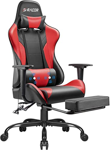 Homall Gaming Chair Computer Office Chair Ergonomic Desk Chair with Footrest Racing Executive Swivel Chair Adjustable Rolling Task Chair Red