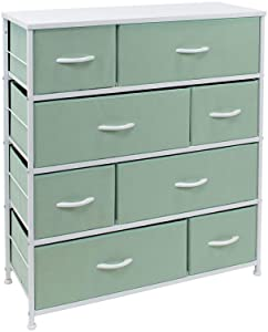 Sorbus Dresser with 8 Drawers - Bedside Furniture & Night Stand End Table Dresser for Home, Bedroom Accessories, Office, College Dorm, Steel Frame, Wood Top (Teal)
