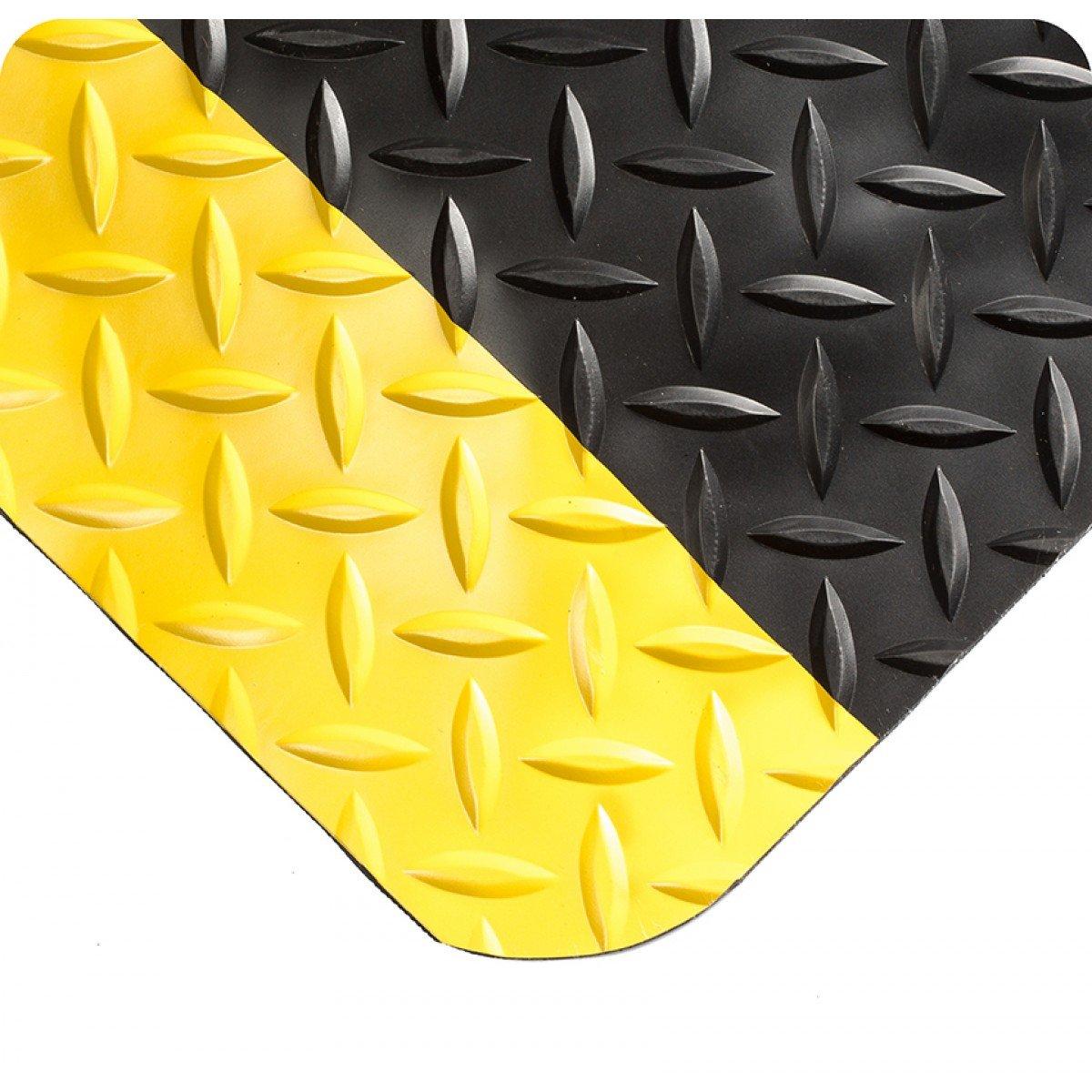 Wearwell 415.916x2x6BYL Diamond-Plate SpongeCote Mat, 61 cm x 183 cm, Black/Yellow