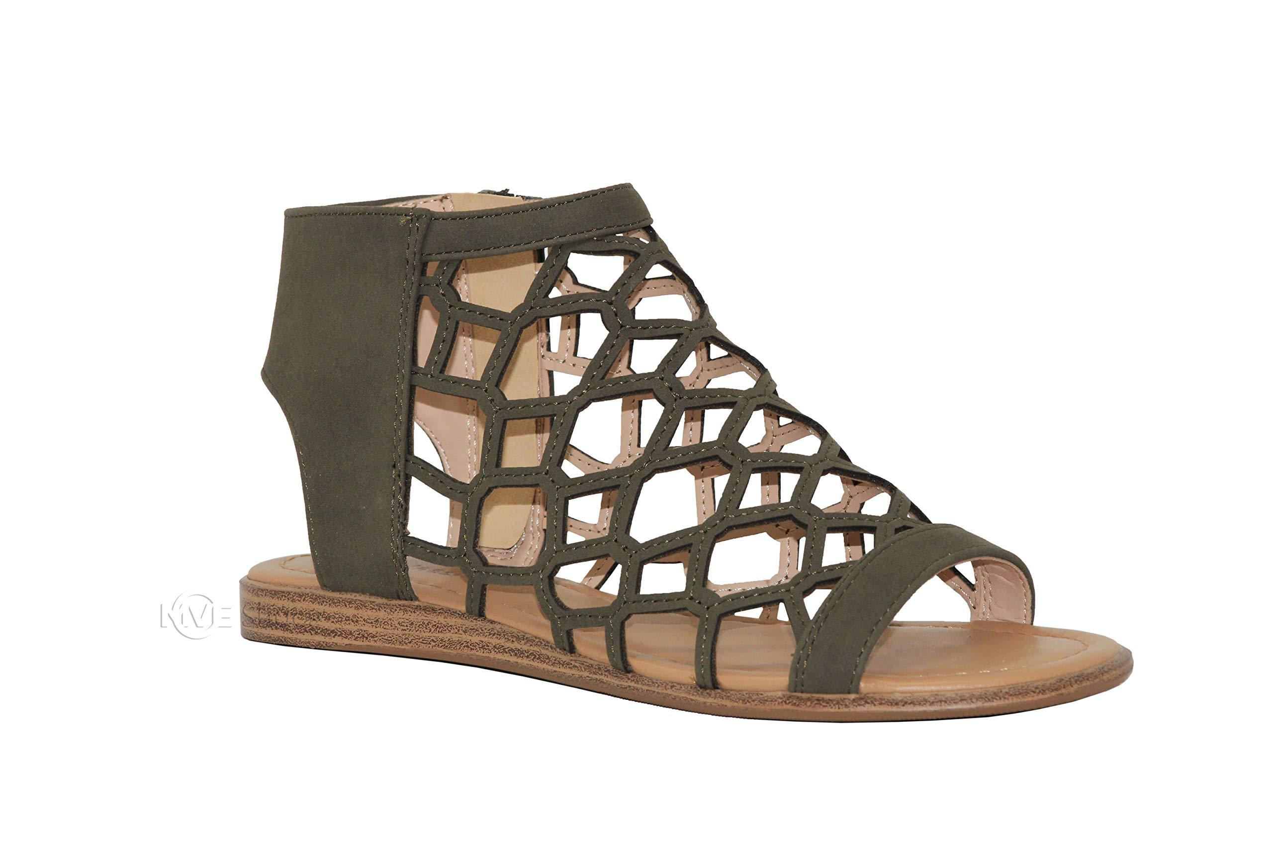 MVE Shoes Women's Fashion Open Toe Sandals - Gladiator Cut Out Bohemian Flat Sandals-Ankle Strappy Shoes, Khaki pu Size 8