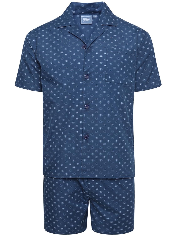 Harvey James Pijamas Cortos de algod/ón Poliester Tejido Hombre M-2XL Oscuro o Azul Claro