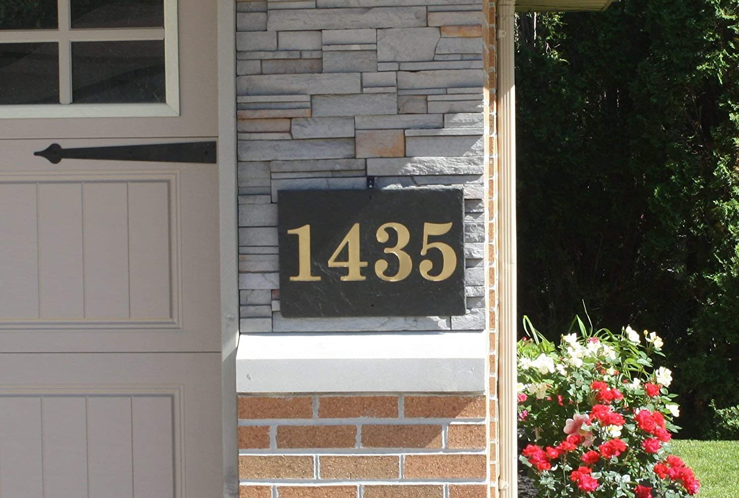 Rectangle Carved Slate House Number Sign- With Post and Light