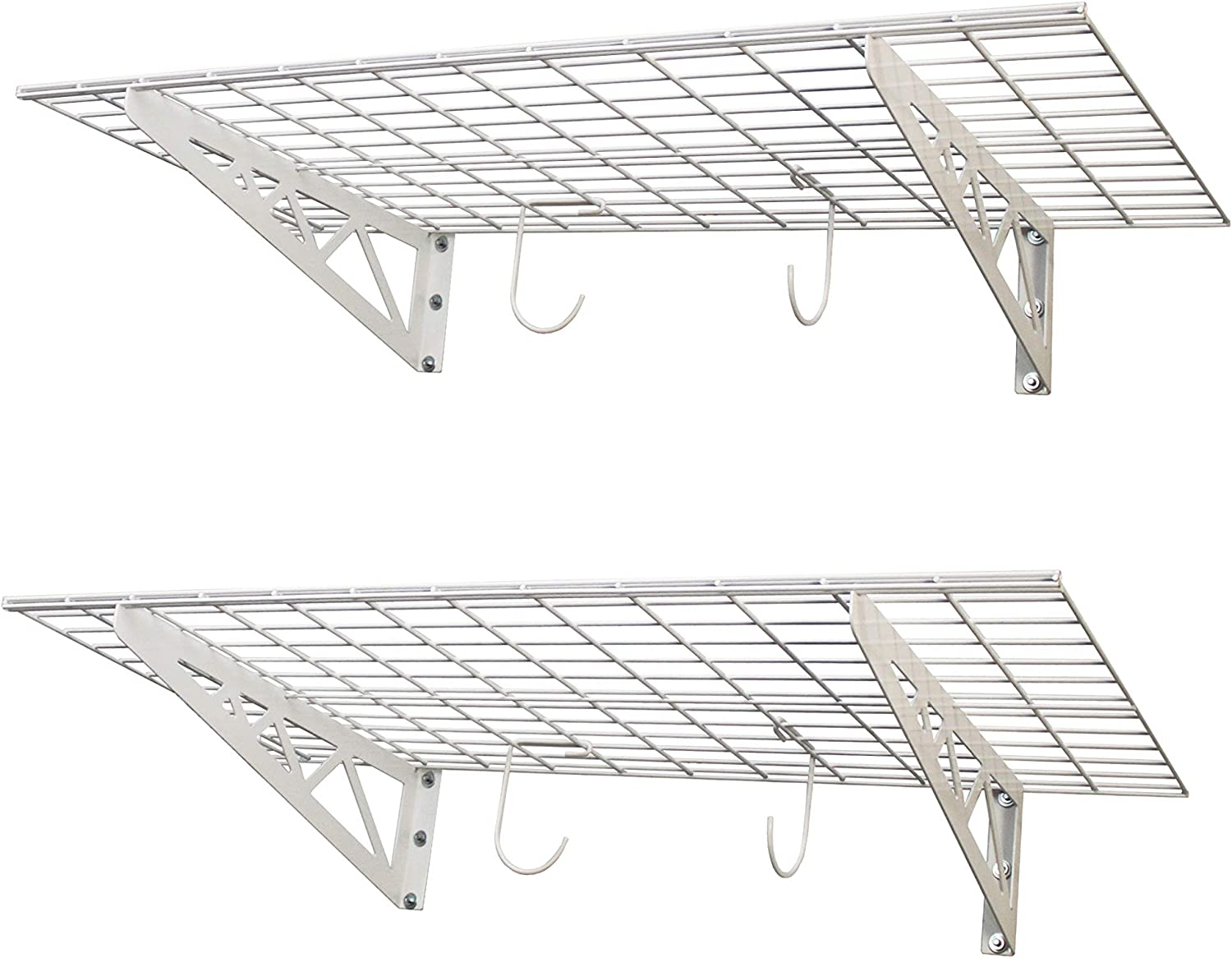 SafeRacks | Garage Wall Shelf Two-Pack with Bike Hooks