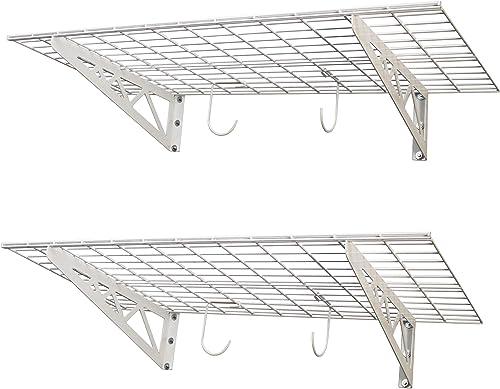 SafeRacks Garage Wall Shelf Two-Pack 24 x48 Includes Bike Hooks 500lb Capacity 24 x48 , White