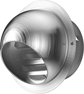 Weiworld 304 Stainless Steel Round Exhaust Grille Louvered Vent with Screen Mesh 6 inch External Extractor Wall Dryer Vent Cap