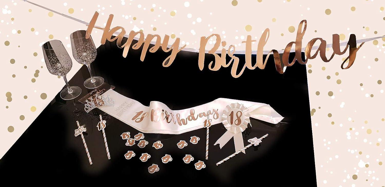 Alandra Cumpleaños RGS-18 18 Crema & Oro Rosa metálico Cumpleaños ...