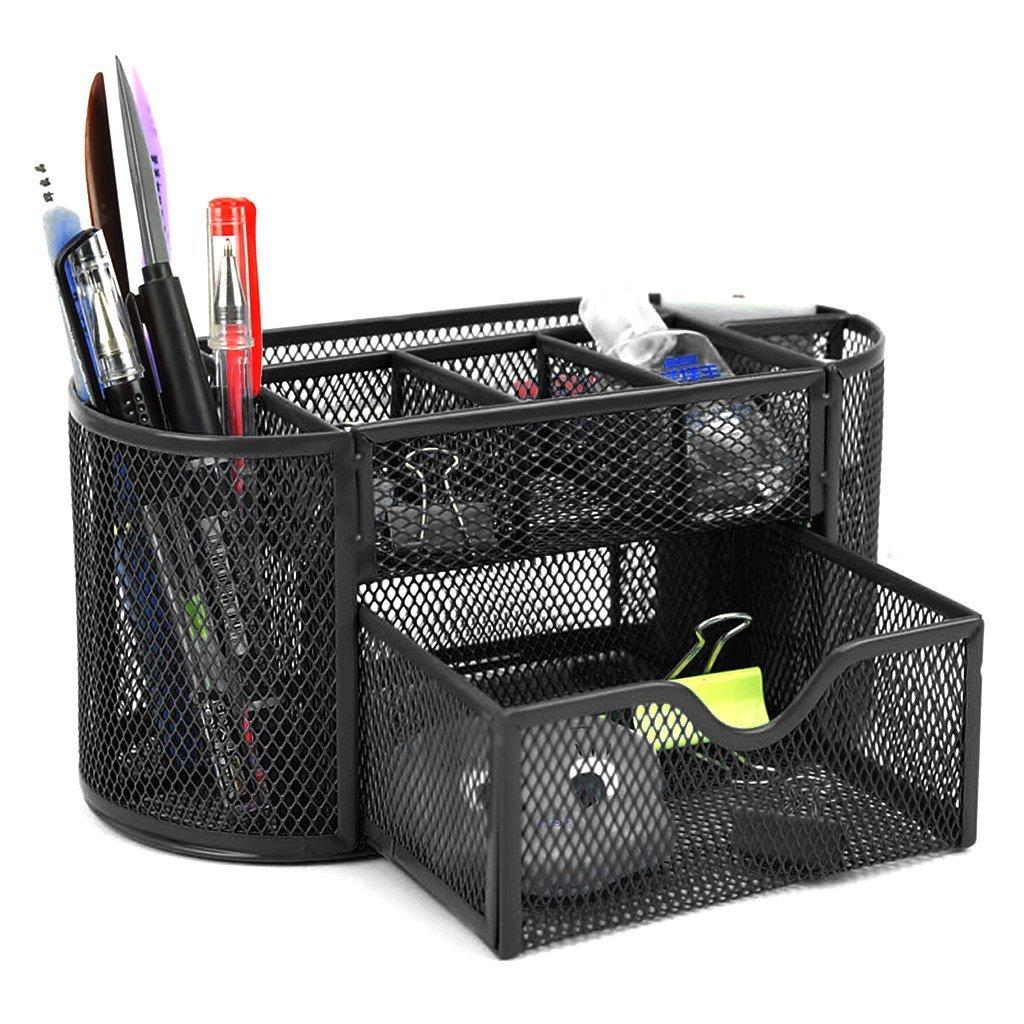 Vano multifunzionale mesh organizer da scrivania ufficio salvaspazio, Office supply cancelleria contenitore portaoggetti con cassetto portapenne fightingeveryone1O