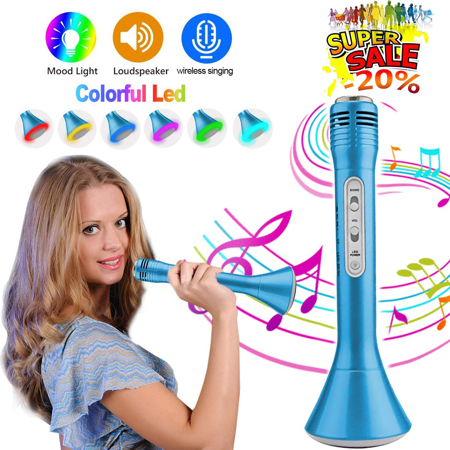 iGeeKid Kids Wireless Karaoke Microphone with Speaker Colorful LED Light for Girls Boys Toddlers Portable Handheld Music Toys for Singing Music Playing Party KTV Support iOS Android [Super Sale]