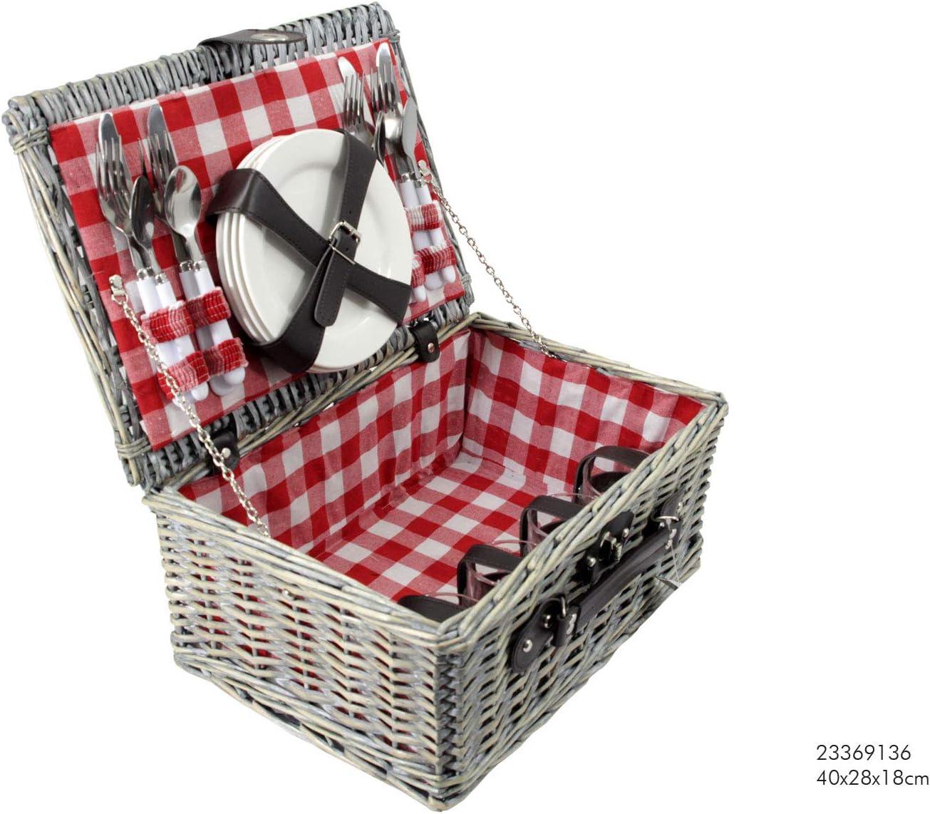 Natur Karo Rot CREOFANT Picknickkorb f/ür 4 Personen /· Piknikset /· Weidenkorb mit Picknickdecke /· 22 teiliges Picknick-Set mit Geschirr /· Picknickkoffer Set mit Decke