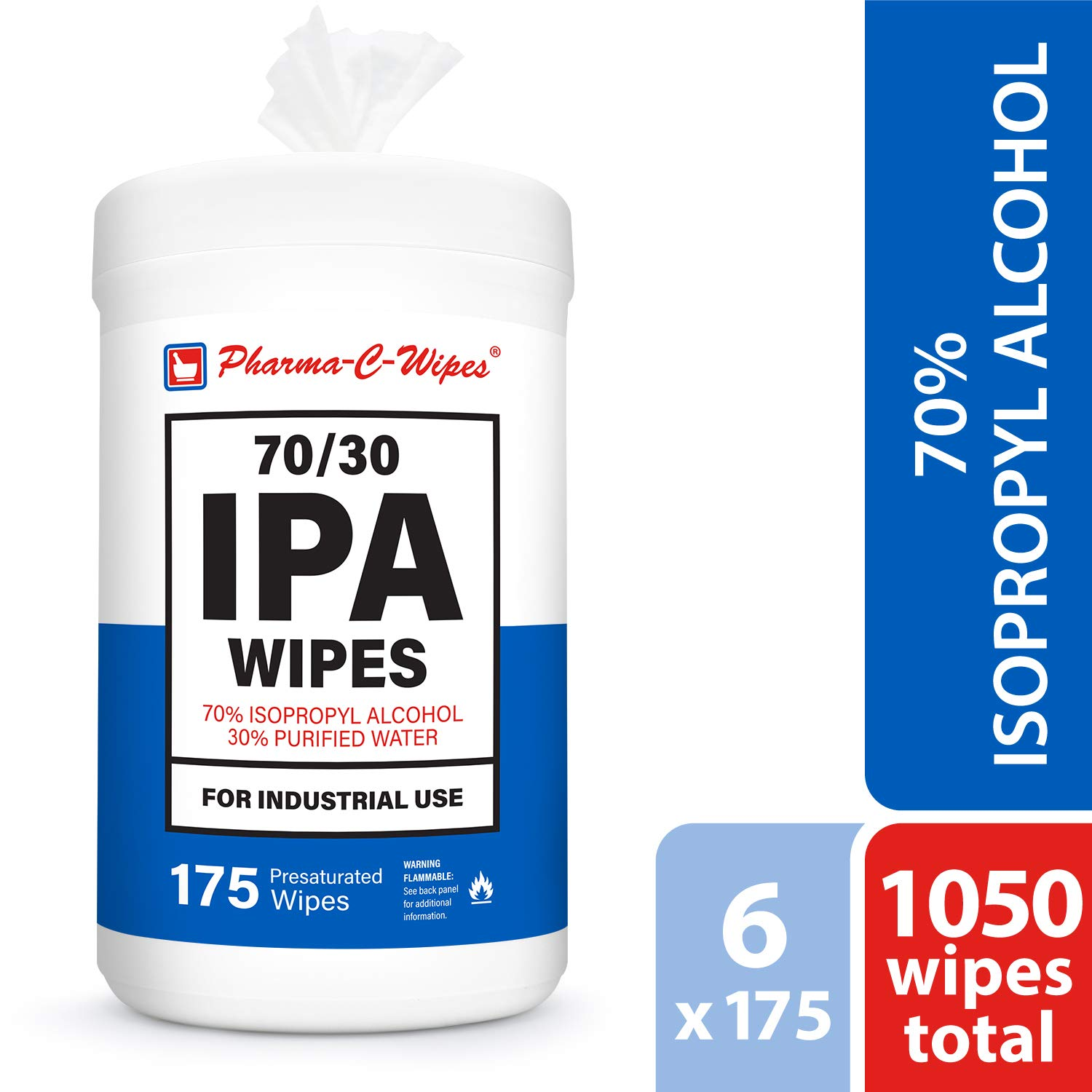 Case of 6 Canisters Pharma-C-Wipes 70/% Isopropyl Alcohol Wipes 175 Count Milk Check IPA equivelent
