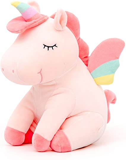 Amazon Com Lazada Unicorn Stuffed Animal Plush With Rainbow Wings Pink 12 Inches Toys Games