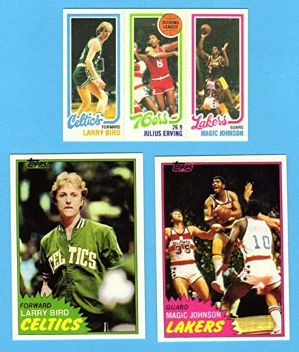 Larry Bird Magic Johnson 3 Card Topps Basketball Reprint