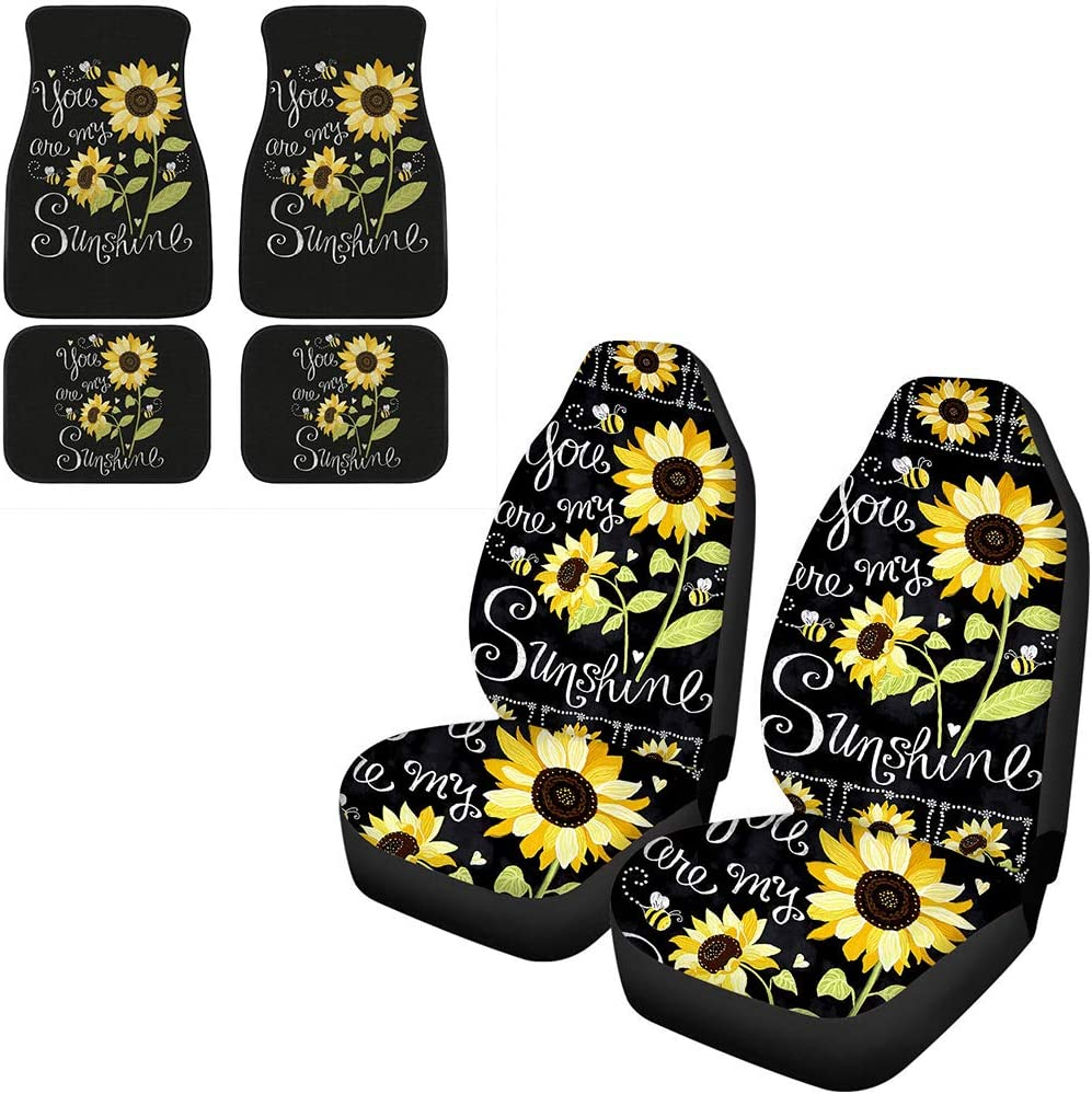 Front Car Seat Cover Set Sunflower You are My Sunshine Pattern Car Accessories 10 Pieces Showudesigns Car Floor Mats Carpet Seat Belt Shoulder Pads Armrest Cover Pads Steering Wheel Cover