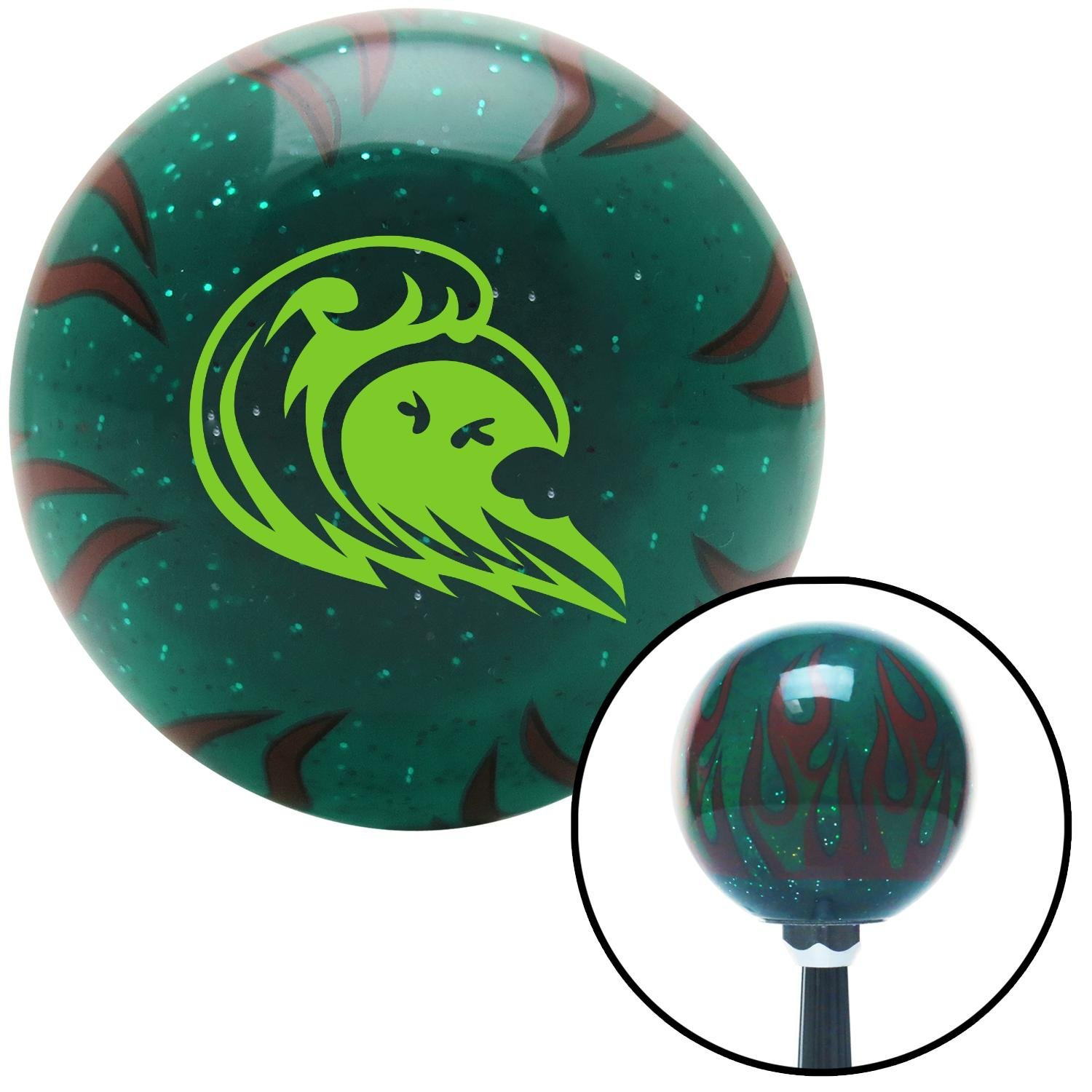 American Shifter 265900 Green Flame Metal Flake Shift Knob with M16 x 1.5 Insert Green Hawaiian Waves #3