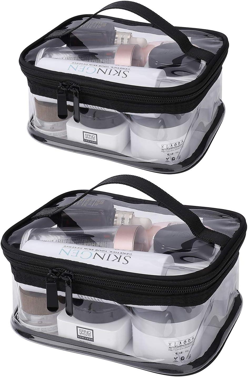 2 Pi/èces Trousse de Maquillage Transparente Trousse de Toilette en PVC Imperm/éable Pochette Sac Cosm/étique de Voyage Portable pour Hommes et Femmes Moyen, Grand