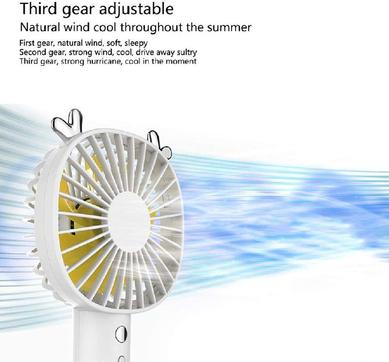Mini Portable Handheld Desk Fan Cute Cooler Cooling USB Rechargeable 3 Modes Speed Fan,White