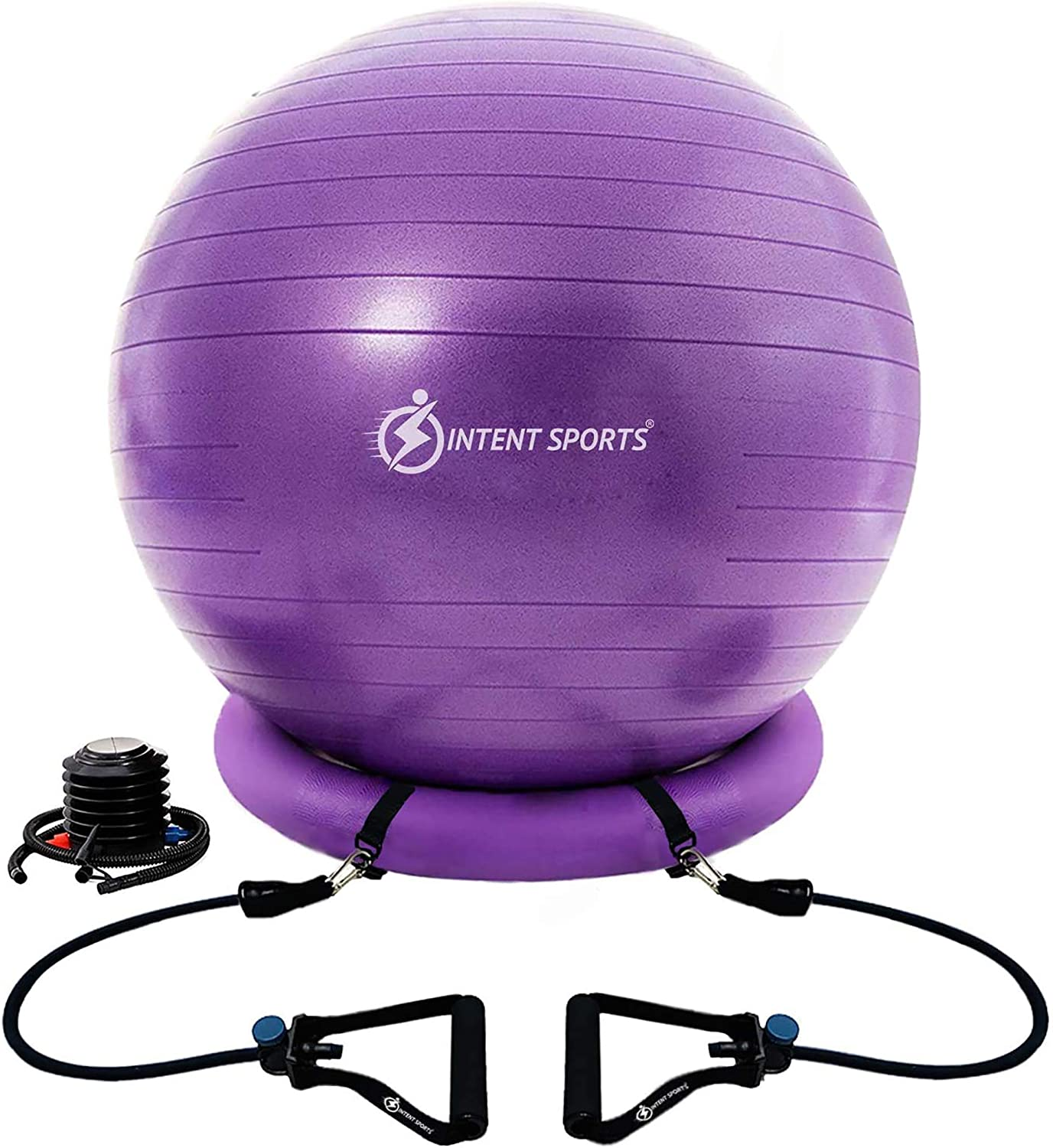 INTENT SPORTS Yoga Ball Chair – Stability Ball with Inflatable Stability Base & Resistance Bands, Fitness Ball for Home Gym, Office, Improves Back Pain, Posture & Balance, Exercise Videos (65 cm)