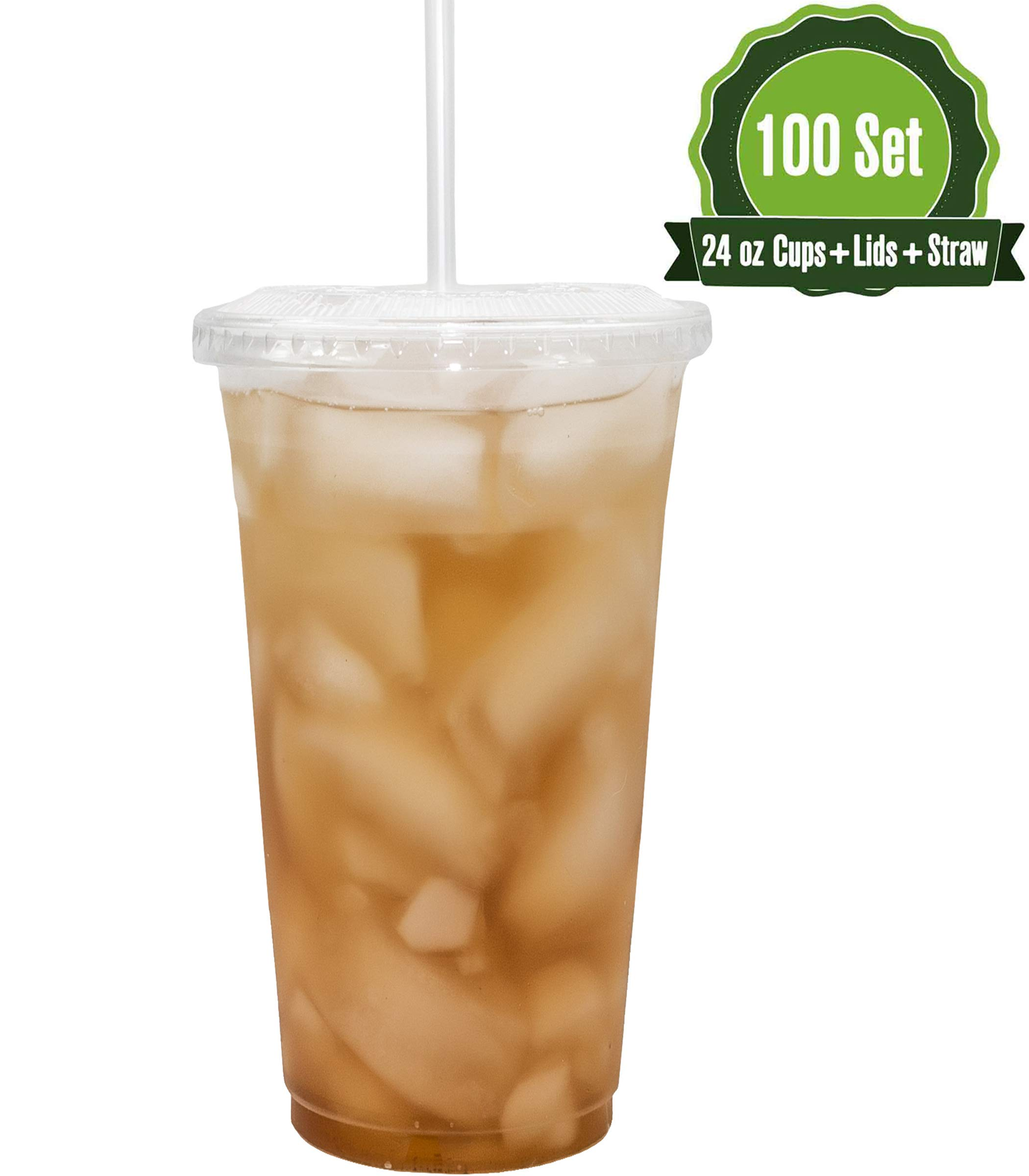 24oz Clear Plastic Cups with Flat Lids and Straws (100 Set)