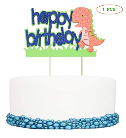Dinosaur Happy Birthday Cake Topper Decor For Babys Party Jurassic Park Theme