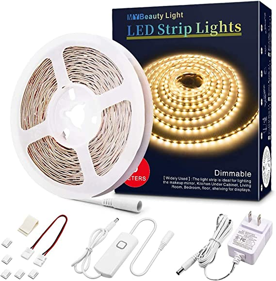 Led Strip Lights 16 4 Feet Dimmable Warm White Led Light Strip Flexible Led Tape Light 12v Under Cabinet Lighting Kits With Etl Power Supply Adhesive Clips Dimmer Switch And Connectors Home Improvement Amazon Com
