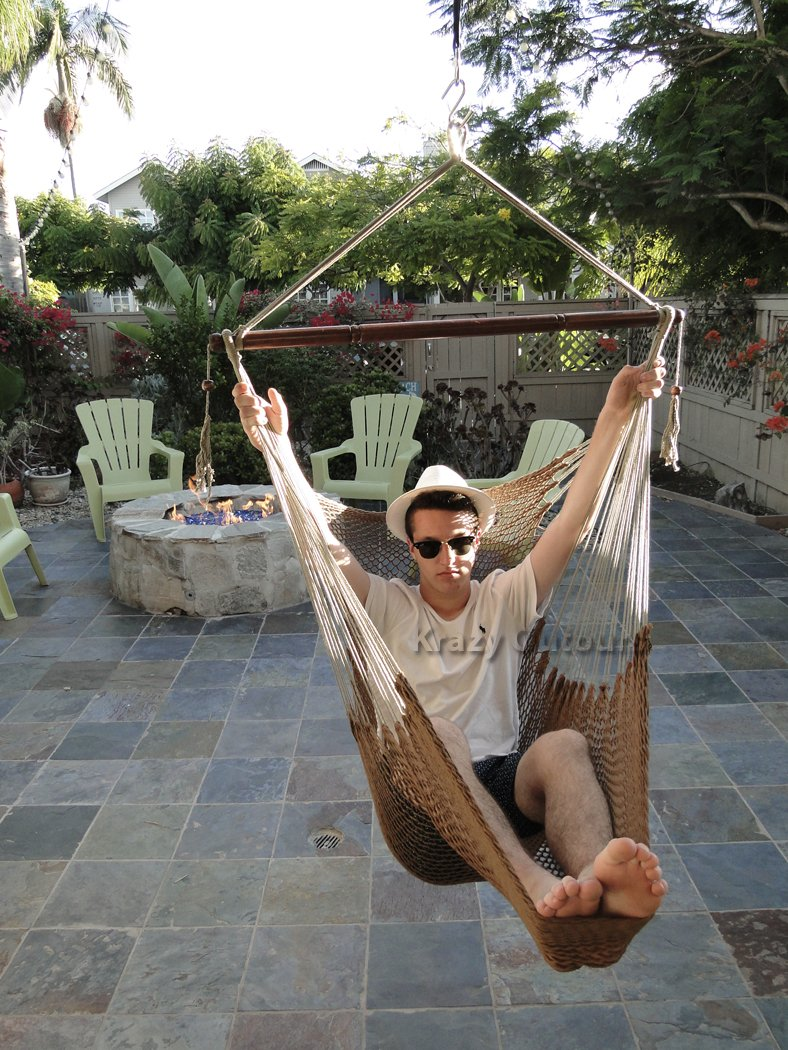 Amazon.com : Mayan Hammock Chair   Large Cotton Rope Hanging Chair Swing  With Wood Bar   Comfortable, Lightweight   For Indoor U0026 Outdoor Porch,  Yard, ...