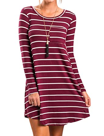 c3960bd5d7a1 Halife Women s Stripe Print Long Sleeve Patch Pocket Casual A Line Tunic  Dress Burgundy S