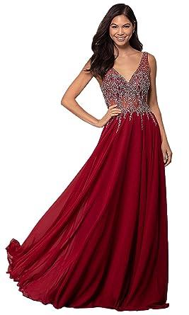 baec25681b KKarine Women s A Line Sexy V Neck Beaded Chiffon Prom Dresses Long Formal  Evening Gown (