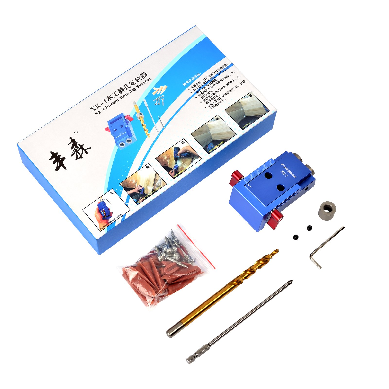 SHUOGOU Mini Pocket Slant Hole Jig Kit + 9.5mm Step Drilling Bit Dowelling Jig Wood Work Tool Set