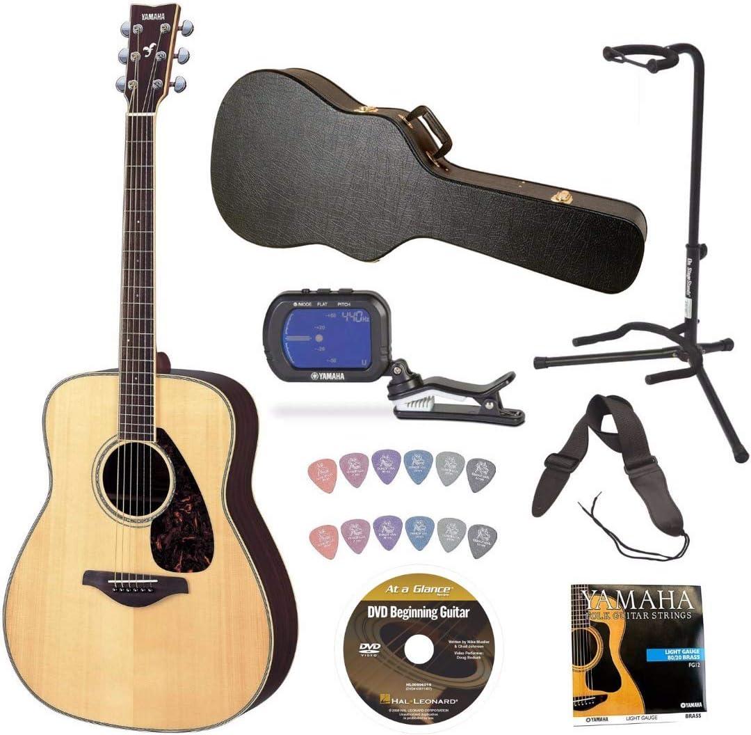 Yamaha fg730s guitarra acústica Natural Bundle con Knox guitarra ...