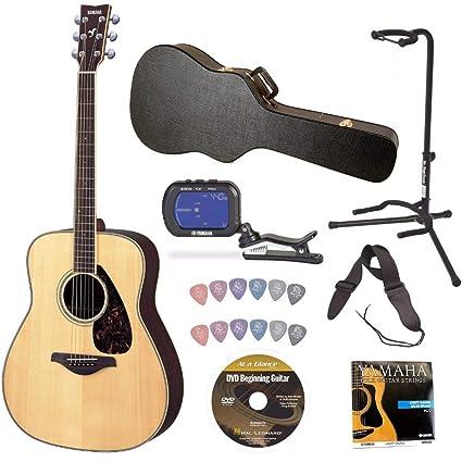 Yamaha fg730s Guitarra Acústica Cuerdas de Bundle con el sintonizador de Knox Hardshell Funda para guitarra