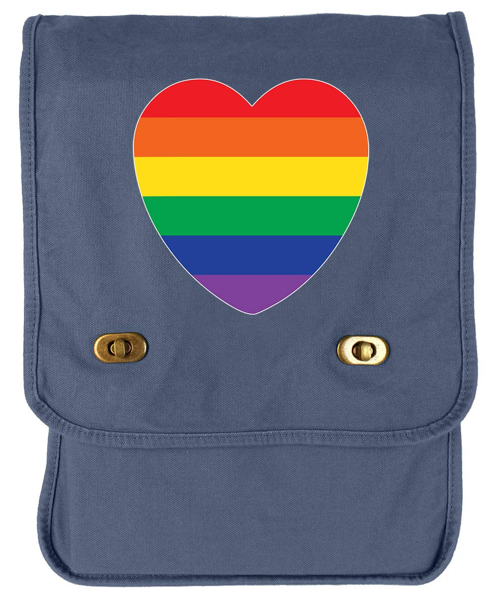 Tenacitee Pride Rainbow Heart Flag Navy Brushed Canvas Messenger Bag
