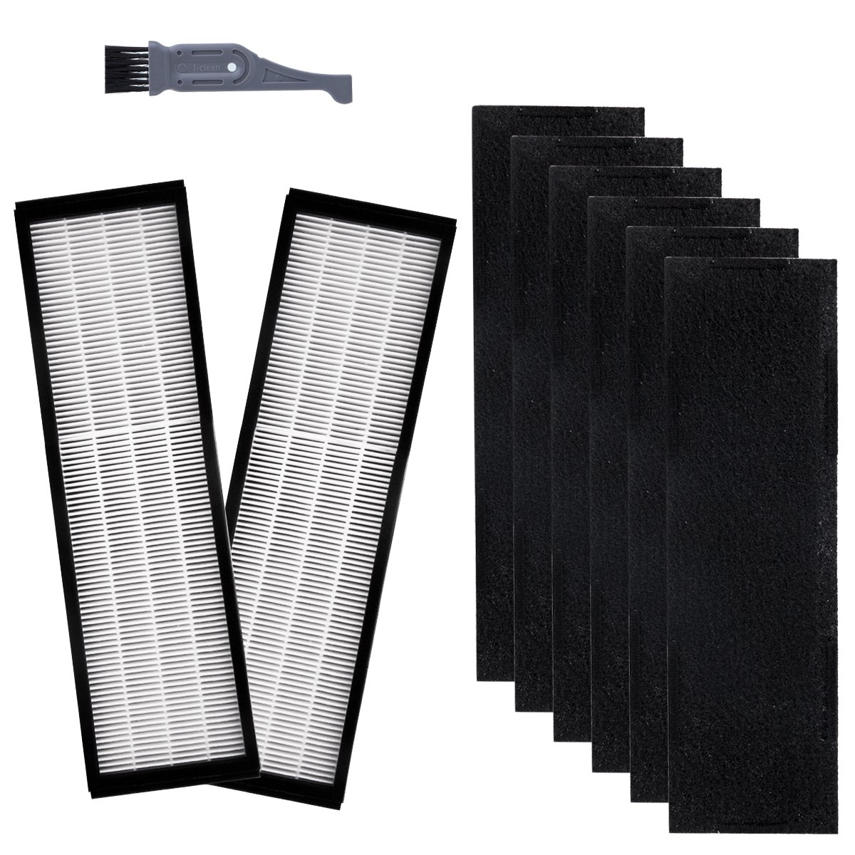 I clean Filter C For GermGuardian FLT5250PT, Replacement Hepa Filter for FLT5000/FLT5111Series Air Purifiers AC5000, AC5000E, AC5350B, AC5300B Series(2 Pcs Hepa Filter C&6 Pcs Carbon Pre Filters) I-clean ICLEAN-241
