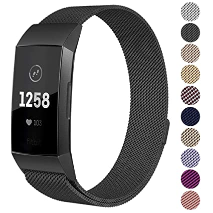 Kuxiu Replacement Bands Compatible Fitbit Charge 3/ Charge 3 SE Fitness  Activity Tracker, Small & Large Milanese Loop Magnetic Stainless Steel