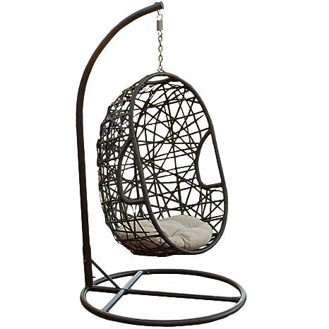 Yopih Silla mecedora de forma ovoide para colgar, de mimbre, para jardín