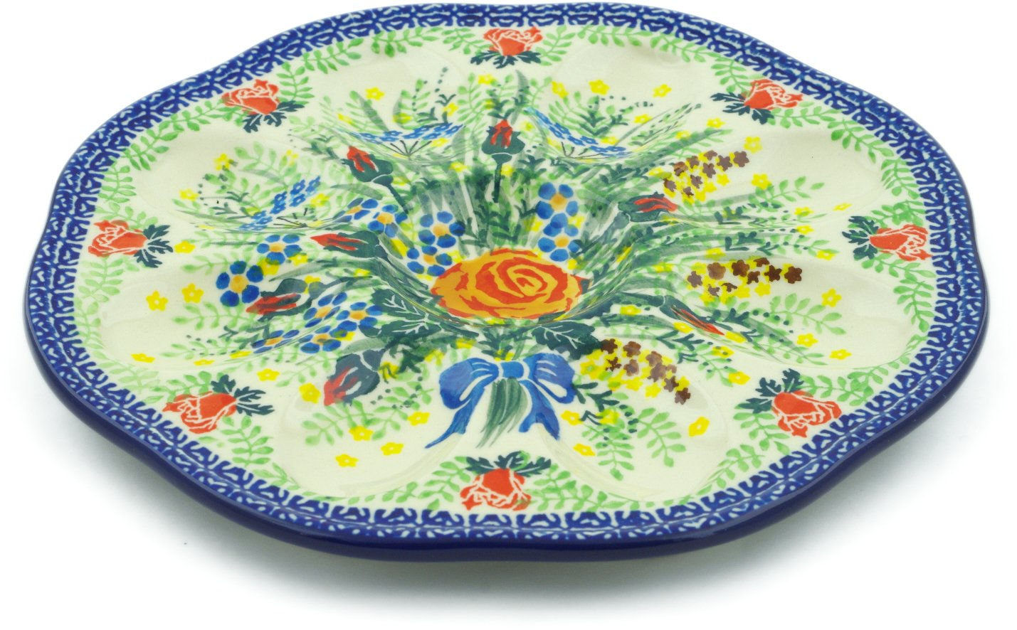 Polish Pottery 9¼-inch Egg Plate made by Ceramika Artystyczna (Sunset Rose Bouquet Theme) Signature UNIKAT + Certificate of Authenticity