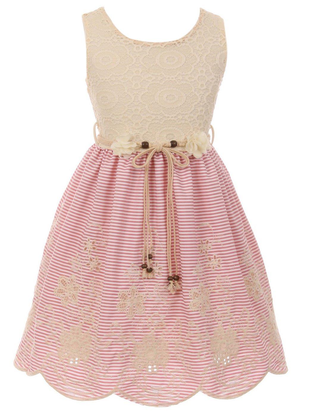 BluNight Collection Big Girls Elegant Round Neck Lace Cotton Summer Birthday Party Flower Girl Dress Pink 12 (2J1K35S)