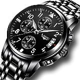Orologio da polso uomo in acciaio INOX nero classico lusso Business casual orologi con calendario impermeabile multifunzionale quarzo Orologio da polso per gli uomini