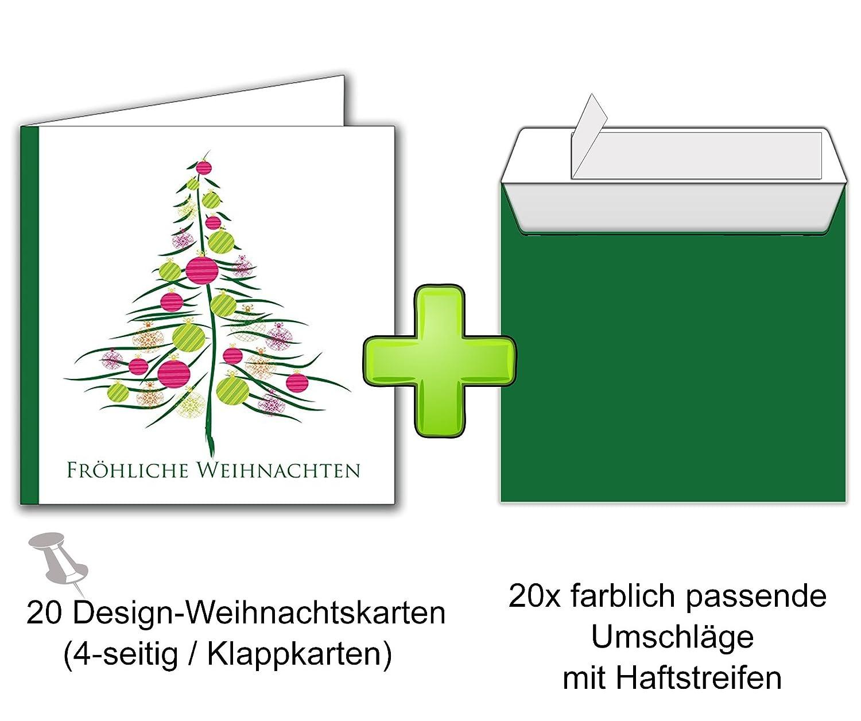 Weihnachtskarten-Set mit Umschlag 20 Stück für Familie Freunde ...