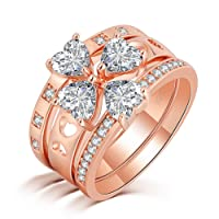 CiNily White Topaz Zircon Rose Gold Plated for Women Jewelry Engagement Ring Size 6-10