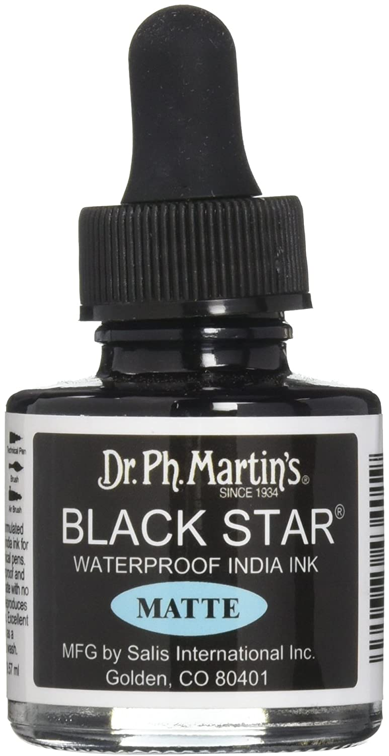 Dr Ph. Martin\'s Black Star India Ink, 1.0 oz, Black (Matte): Amazon ...