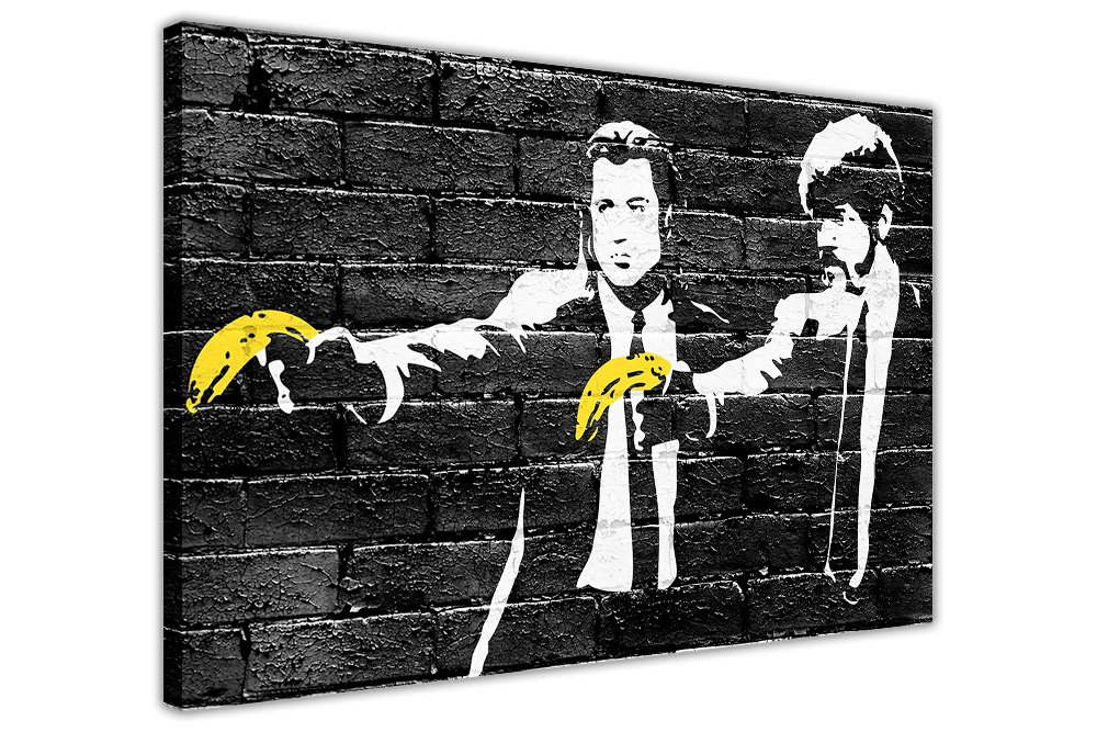BANKSY PULP FICTION YELLOW BANANAS CANVAS PRINTS WALL ART PICTURES ROOM DECORATION POSTER BLACK PRINT Canvas It Up