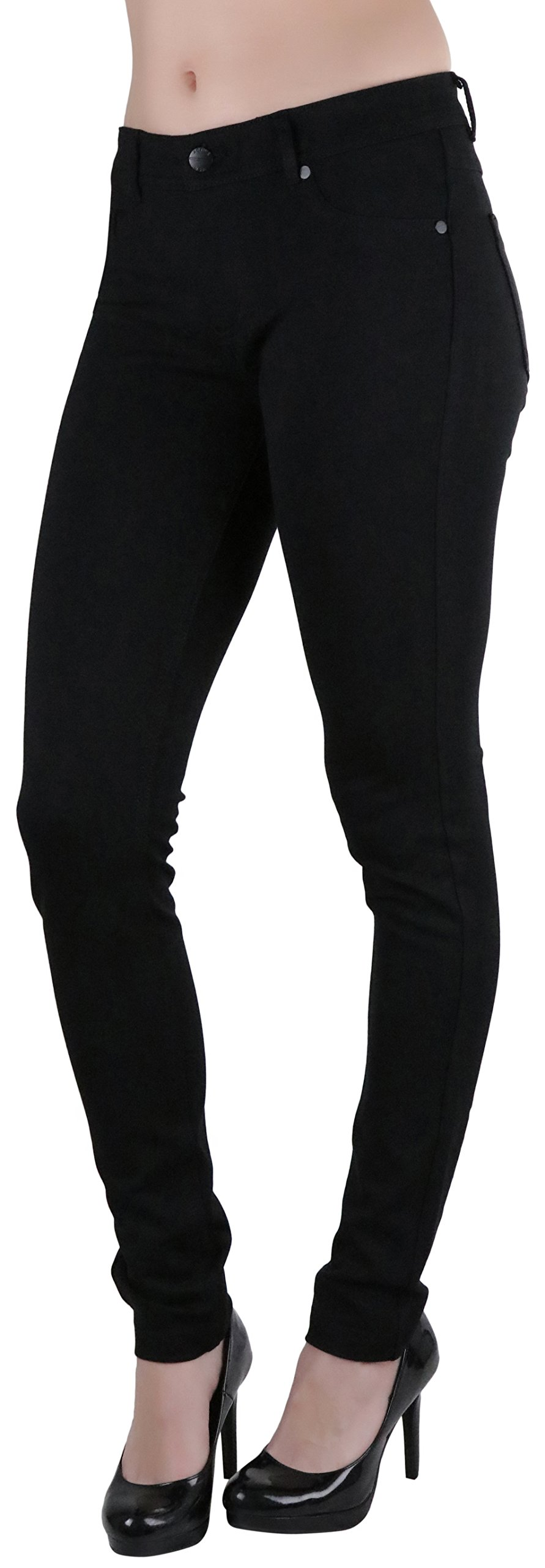 ToBeInStyle Women's Five Pocket Skinny Ponte Pants - Black - Large