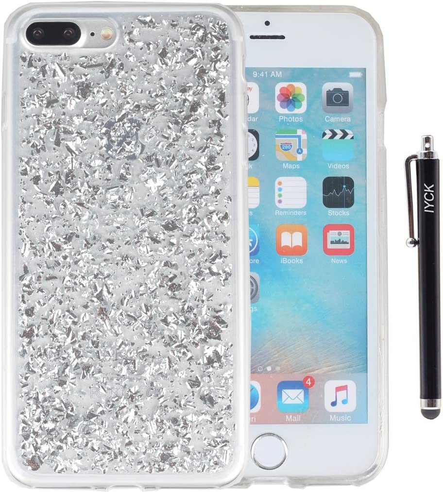 iPhone 8 Plus Case, iPhone 7 Plus Case, iYCK Bling Glitter Sparkle [Gold Foil Embedded] Flexible Soft Rubber Gel TPU Protective Shell Bumper Case Cover for iPhone 7 Plus/iPhone 8 Plus 5.5inch - Silver