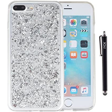 new styles 111d3 7a2f3 iPhone 8 Plus Case, iPhone 7 Plus Case, iYCK Bling Glitter Sparkle [Gold  Foil Embedded] Flexible Soft Rubber Gel TPU Protective Shell Bumper Case ...
