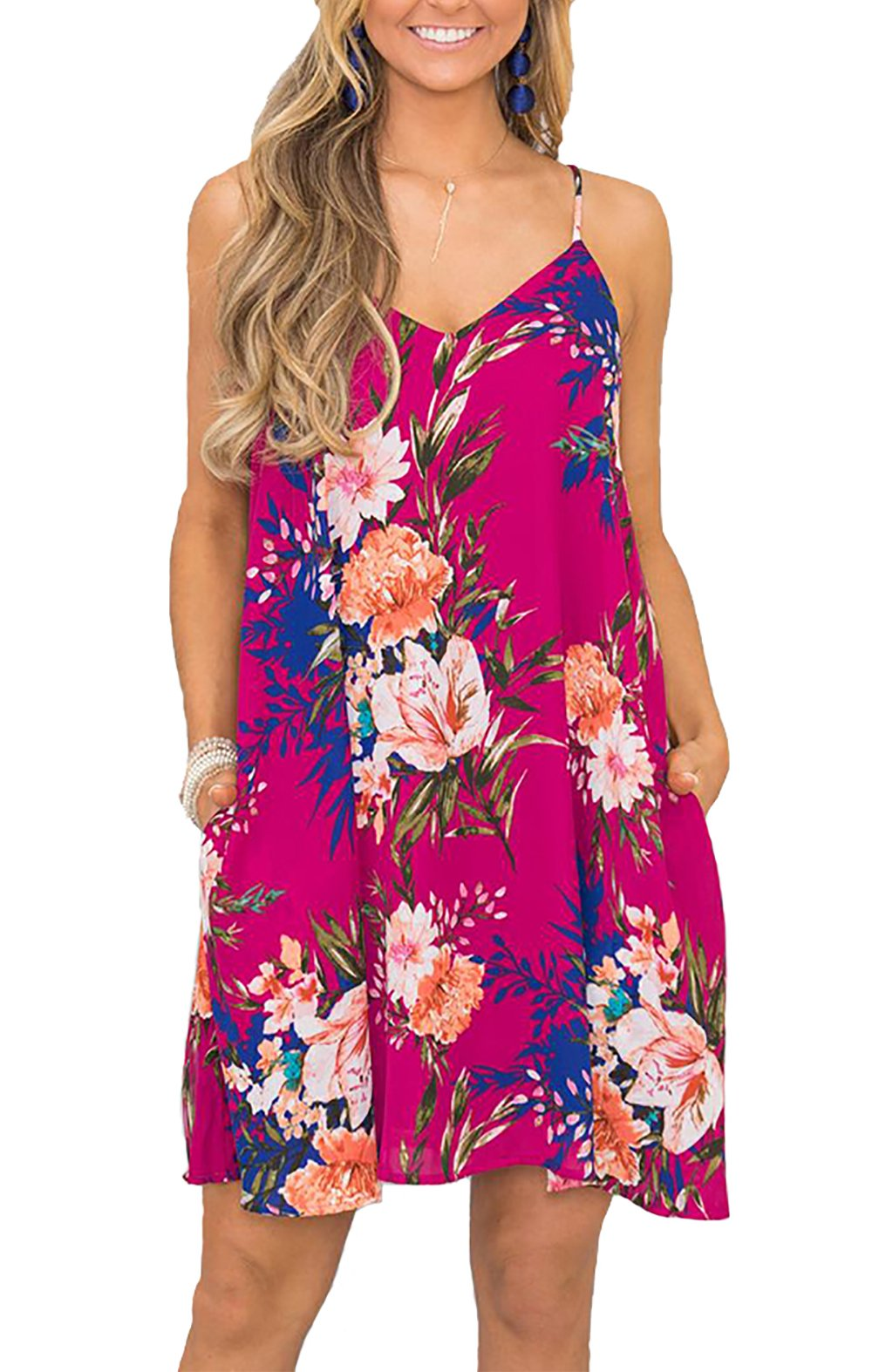BTFBM Women's 2018 Summer Casual Floral Printed Sleeveless V-Neck Short Dress with Pockets (Rose Red, Large)