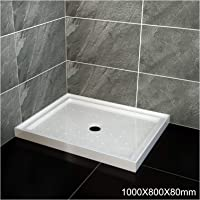 Elegant Showers Square Extra Strong Acrylic Fiberglass Shower Base Tile Over Anti-Skid Texture,1000x800mm